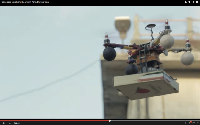 Francesco's Pizzeria delivers Pizza via drones.